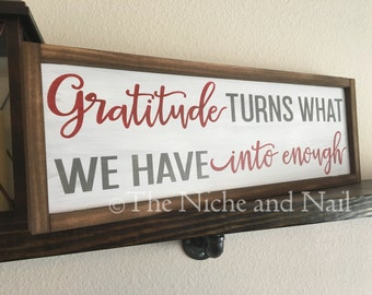 Gratitude Wood Sign, Inspirational Decor, Motivational Sign, Rustic Home Decor, Fall Decor, Thanksgiving Sign, Gift for Her, Gift for Him