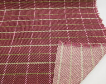 Wine/Red Checked, Plaid Heavy Wool/Viscose Blend Upholstery Fabric. By NEXT