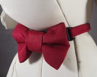 Christmas Dog Collar, Burgundy Dog Collar, Wedding Dog Collar, Holiday Dog Collar, Holiday Puppy Collar, Pick Collar flower or bow tie