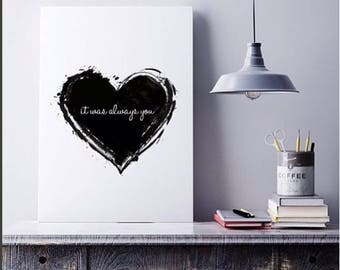 Black Heart Wall art print for living room, home decor, interior inspiration by Meenyminy