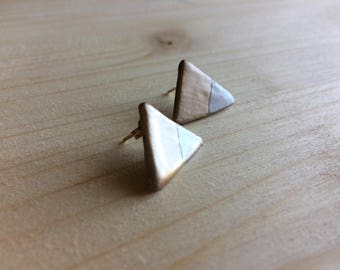 Studs/Earrings gold and Silver Ceramic ceramic lobe (made in Italy)