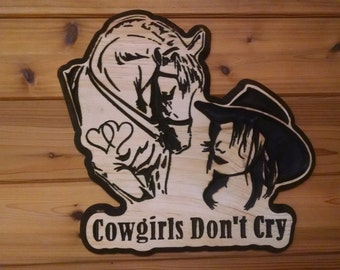 Wooden cowgirl horse sign