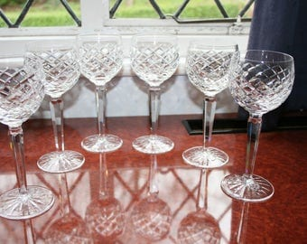 """Six Waterford Crystal """"Adare"""" tall wine/hock glasses superb condition"""