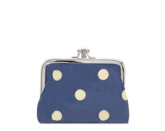Double Coin Purse- Blue polka dot - Small ladies wallet- Oilcloth clasp coin wallet- Oil cloth Kissloch purse- laminated cotton- travel card