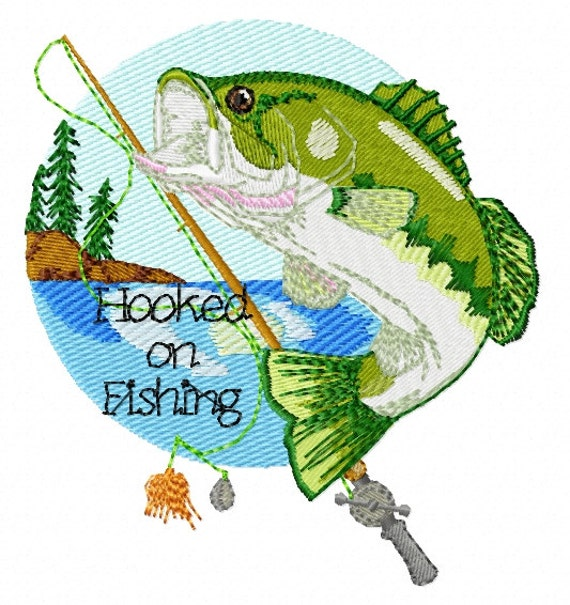 Hooked on fishing machine embroidery design for Hooked on fishing
