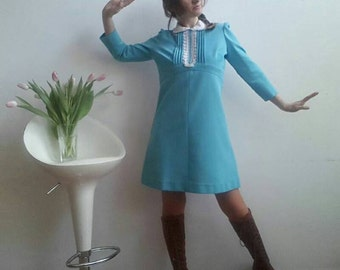 LUCY in THE SKY Vintage 60's Little Dress Blue A-Line Twiggy Style White Lace Lolita Collar