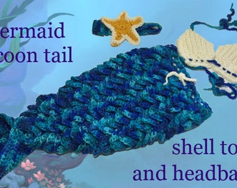 Little baby mermaid tail, shell top, and headband