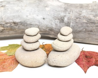STONES sandstone oval and circular white and gray rocks, cairns, bohemian decor, zen gardens