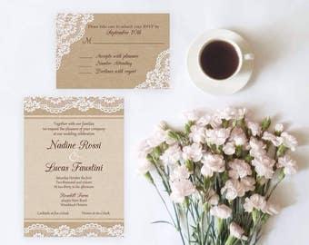 Burlap & Lace Wedding Invitation Set