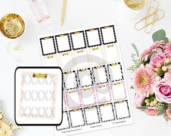 Printable Designer inspired clipboard boxes Planner Stickers for ECLP