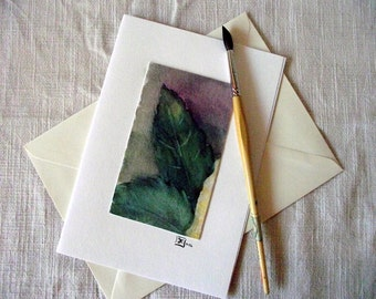 Greeting Card - Leaves - handmade - orignal watercolour - incl. Envelope and Inlay - Size DIN A 5