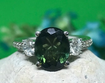 Tourmaline ring in 14K white gold with diamonds #4623
