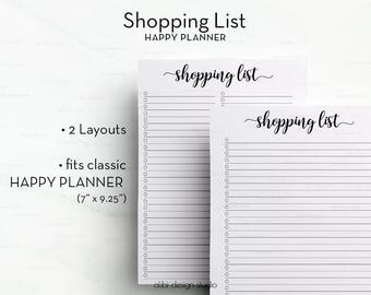 Shopping List, Happy Planner, Planner Printable, MAMBI, Shopping Organizer, Grocery list, To Do List, Shopping Tracker, MAMBI Planner