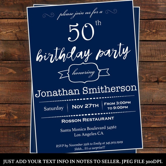 Men's Surprise Birthday Invitations Mens Birthday