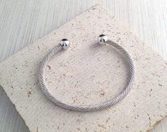 Silver Bracelet,Silver Twisted Bracelet,Silver Open Cuff Bracelet,Ball End Silver Bracelet,Silver Rope Bracelet,Silver Bangle Bracelet