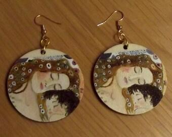 Wooden earrings. Earrings hand painted. The Maternity Gustave Klimt. Earrings Klimt. Pendants earrings. Wearable art. Gift idea.