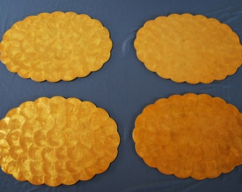Retro Mid Century Orange Capiz Shell Placemats, Mid Century Placemats with Resin Coating -Set of 4