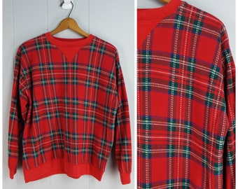 Vintage Womens 1990s Red and Green Plaid Pullover Sweatshirt | Size M