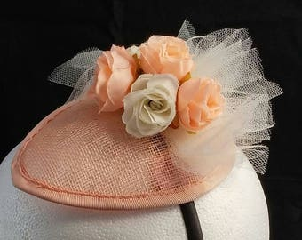 Peach Roses and Ivory Tulle Fascinator