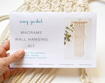 DIY Macrame Wall Hanging! Material Kit with Knot Guide & Pattern - Macrame Wall Hanging Kit - DIY Macrame Wall Hanging - Macrame Kit