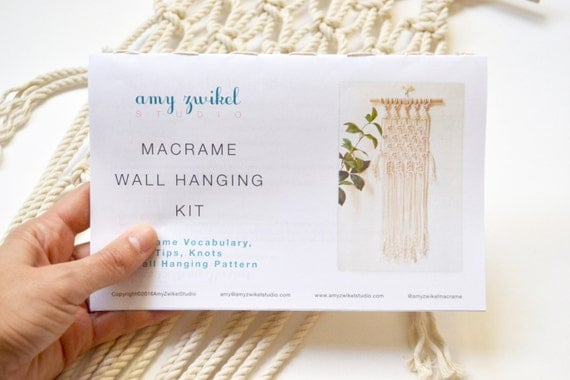 How To Make A Macrame Wall Hanging diy macrame wall hanging material kit with knot guide &