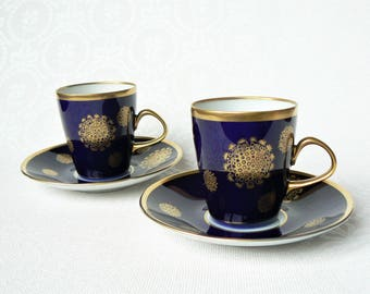 COFFEE Set Cobalt Blue & Gold Vintage/ Set of 2 Porcelain Coffee Cups and Saucers/ Cobalt Blue, Gold Decal/ Germany, LICHTE