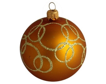 Christmas Ornament, Christmas Baubles, Baubles, Glass Baubles,Christmas Decorations, Christmas Tree Ornaments-Hand Blown Ornament Oreol Gold