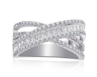 2 Carat Princess & Round Cut Criss Cross Diamond Anniversary Ring 14K White Gold