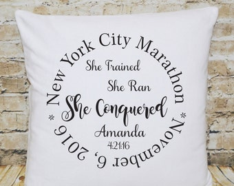 Marathon Gift, Gift for Runner, Gift for Her, Running Gift, Throw Pillow, Marathon, Half Marathon, Christmas Gift, Custom Pillow, Christmas