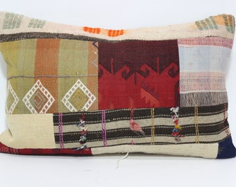 Patchwork Kilim Pillow 20X28 Kilim Pillow Handmade Kilim Pillow Sofa Pillow Decorative Kilim Pillow Turkish Kilim Pillow SP5070-766