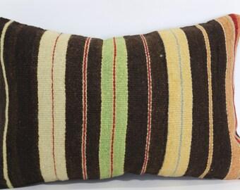 16x24 Anatolian Kilim Pillow Striped Kilim Pillow 16x24 Handwoven Kilim Pillow Fllor Pillow Ethnic Pillow Cushion Cover  SP4060-437