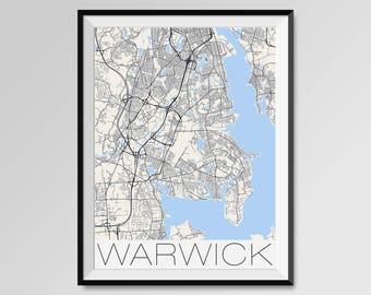 WARWICK Rhode Island Map, Warwick City Map Print, Warwick Map Poster, Warwick Art, Warwick gift, Custom city, Personalized Rhode Island map