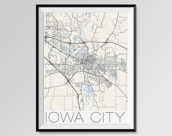 IOWA CITY Iowa Map, Iowa City City Map Print, Iowa City Map Poster, Iowa City Wall Art, Iowa City gift, Custom city, University of Iowa