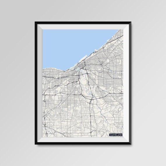 Cleveland map print minimal wall art office home decor for Minimal art wall
