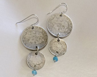 Stunning Boho style double coin earrings finished with facited Amazonite