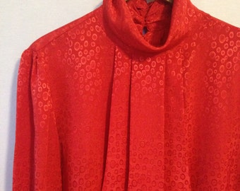 1980s red dotted ruffle neck blouse by Silvercord size 14