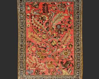 Qum Silk rug Iran / Persia 2.5 x 1.8 ft / 77 x 55 cm vintage carpet Boho Style birds