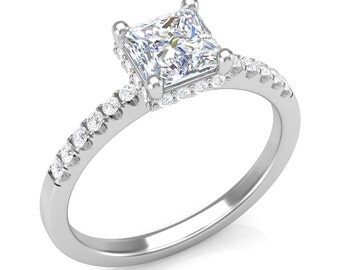 White Gold Engagement Ring  0.22ct Round Diamonds, Princess Cut Collar Halo Ring Semi Mount U-Cut Shank 1.0ct Center Brand New 14K Setting