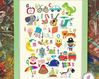 Fun Alphabet Poster, Kids Room Art, Nursery Alphabet, Colourful Art for Kids Room, Happy Character Designs, ABC Poster