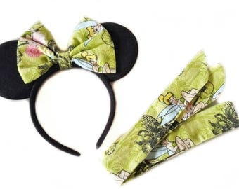 Tinkerbell Set/Matching Ears and Headwrap/Mommy and Me/Disney Ears