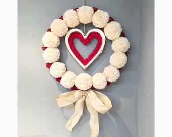 Pompom heart wall hanging, love wall hanging, heart wall art, heart fairy lights wreath, pompom wall art, mothers day gift, mothering sunday
