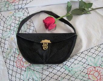 Genuine Corde Vintage Black Soutache Purse Bag Handbag