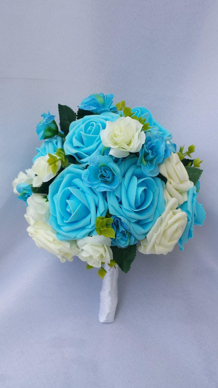 Sky blue bouquet turquoise bouquet sky blue bridesmaid bouquet zoom dhlflorist Gallery