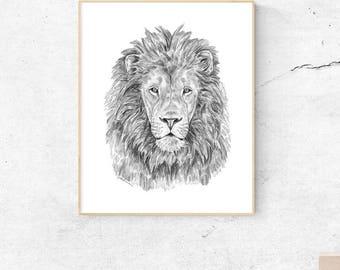 Lion Art Print, Lion Nursery, Lion Wall Art, Lion Decor, Jungle Lion, Lion Wall Art Print, Jungle Nursery Animal, Black and White Animal Art