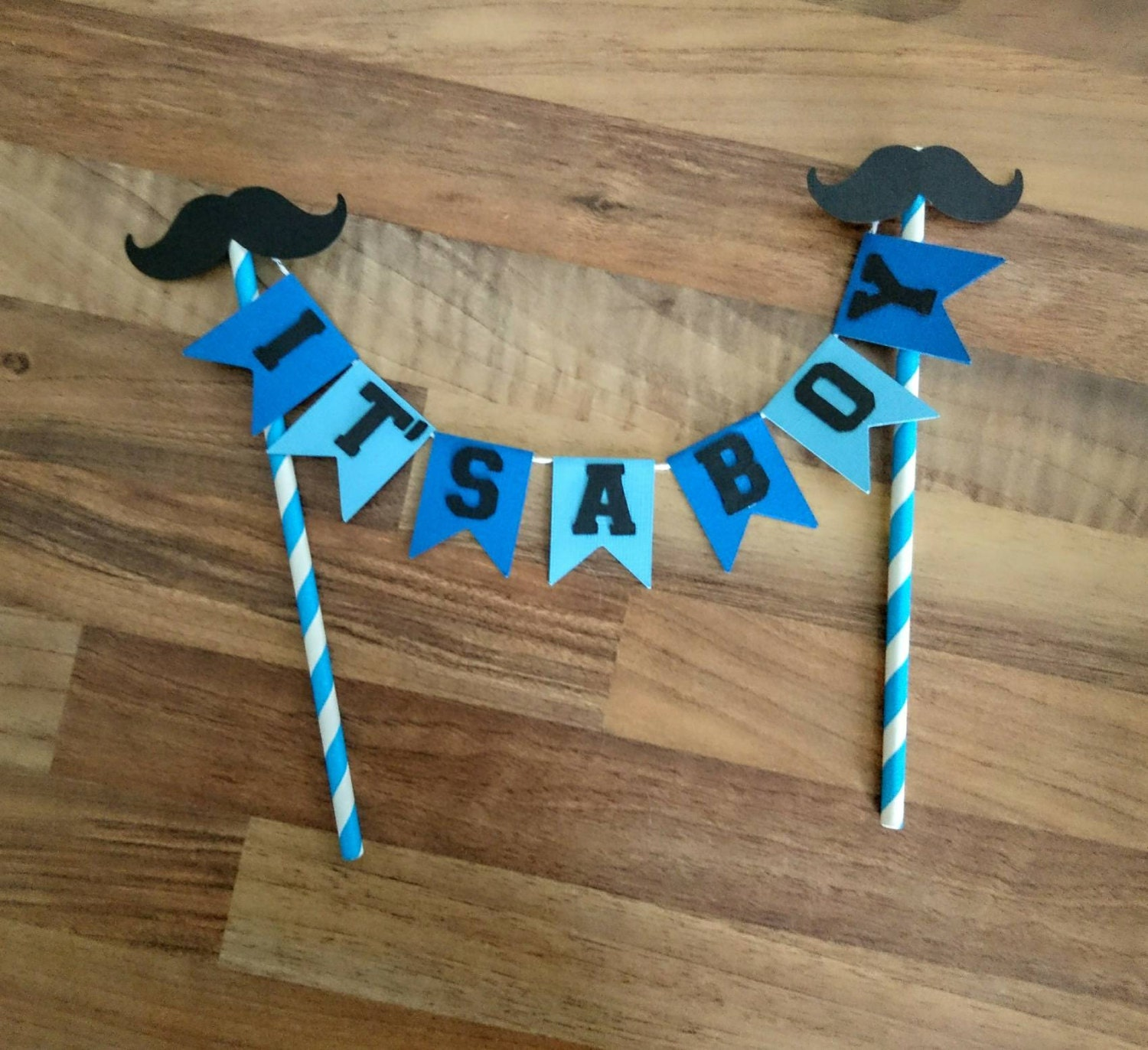 It s a boy Cake Bunting Baby Shower Cake Bunting Moustache Blue