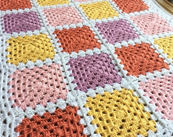 READY TO SHIP. Crochet Baby Girl Blanket. Granny Square Baby Afghan. Yellow, Pink, Purple Baby Blanket.