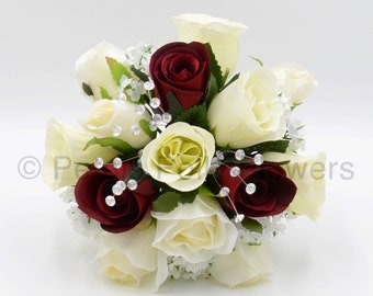 Artificial Wedding Flowers, Burgundy & Ivory Bridesmaids Bouquet Posy