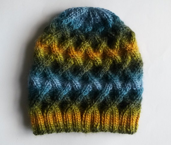 Aran Beanie: chunky knit hat in green/yellow/blue mix. Made in Ireland. Unisex. Original design; one of a kind, unique hat! Great Xmas gift.