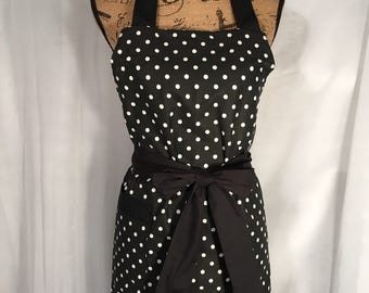 Handmade Black with White Polka Dots Apron