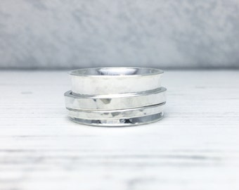 Spinner Ring, Silver Spinner Ring, Spinning Ring, Sterling Silver Spinner Ring, Hammered Cuff Spinner Ring, Wide Band Ring,